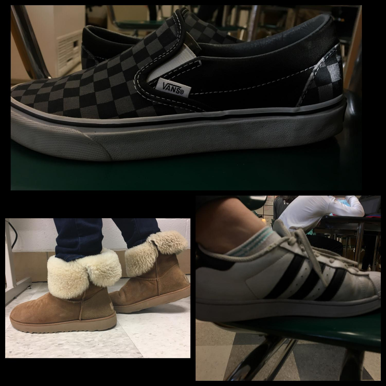 Top=Vans, left=UGGs, and right=Adidas Superstars