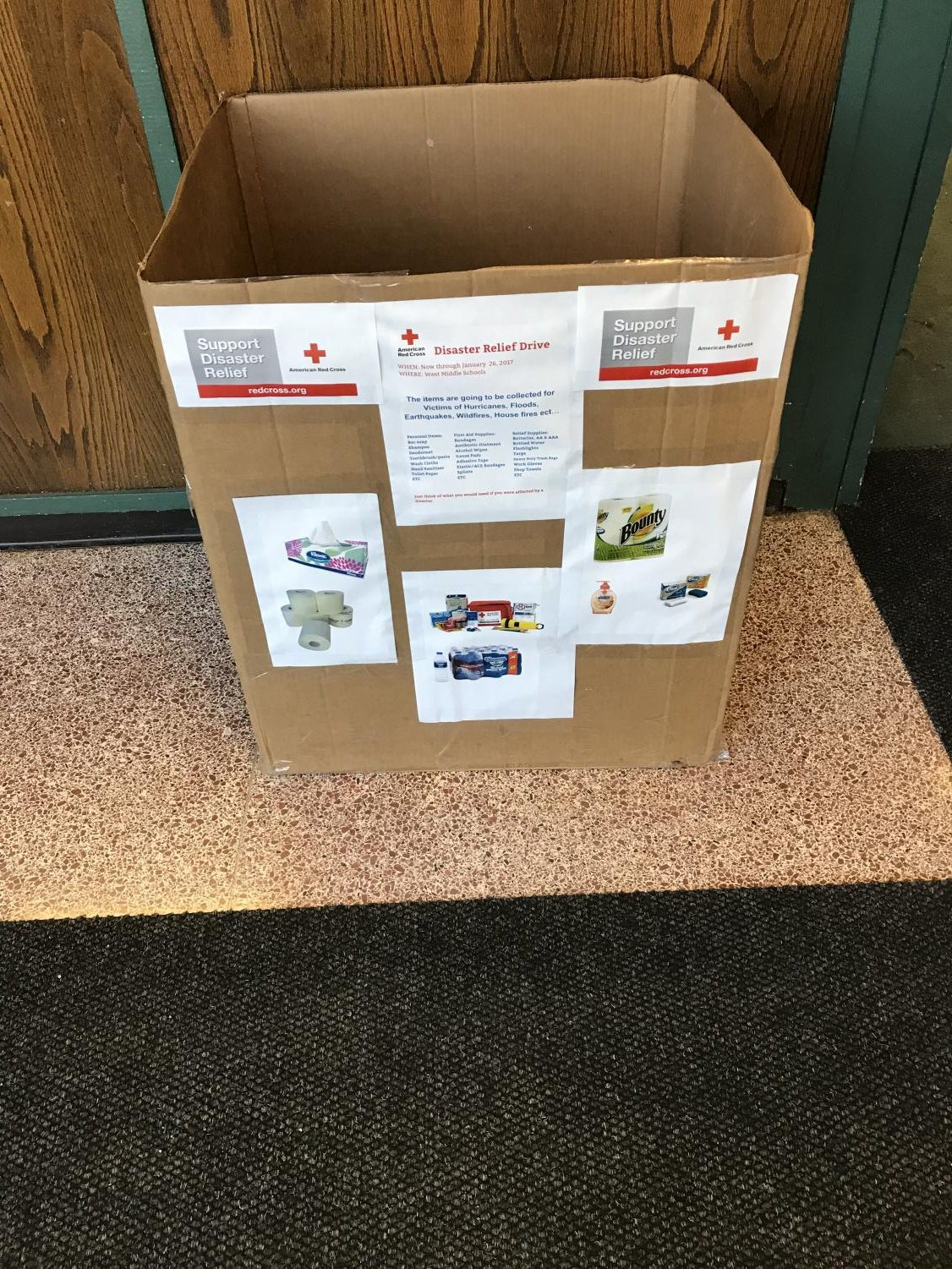 Disaster Relief box located outside the office of West Middle School.