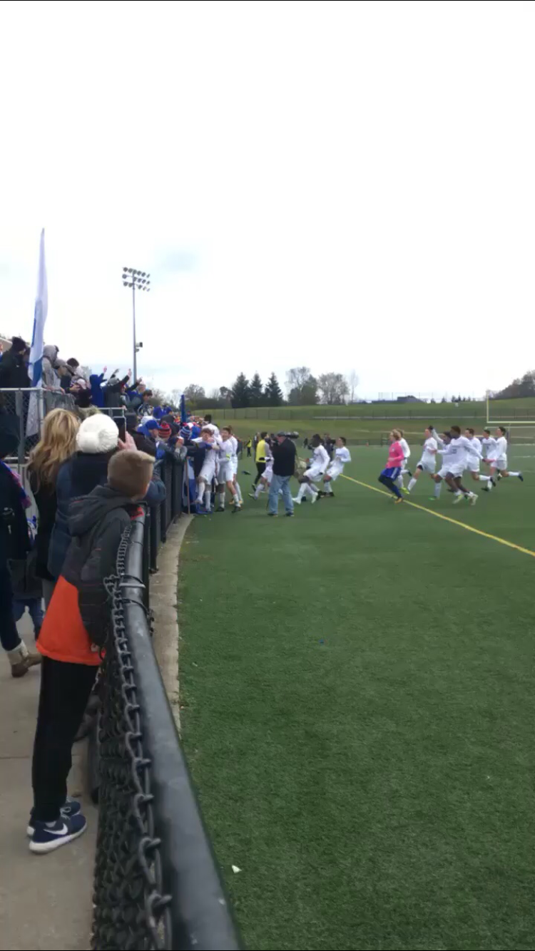 This is when the final whistle blew and Detroit Catholic Central ran to the student section to celebrate after winning the State Championship game!