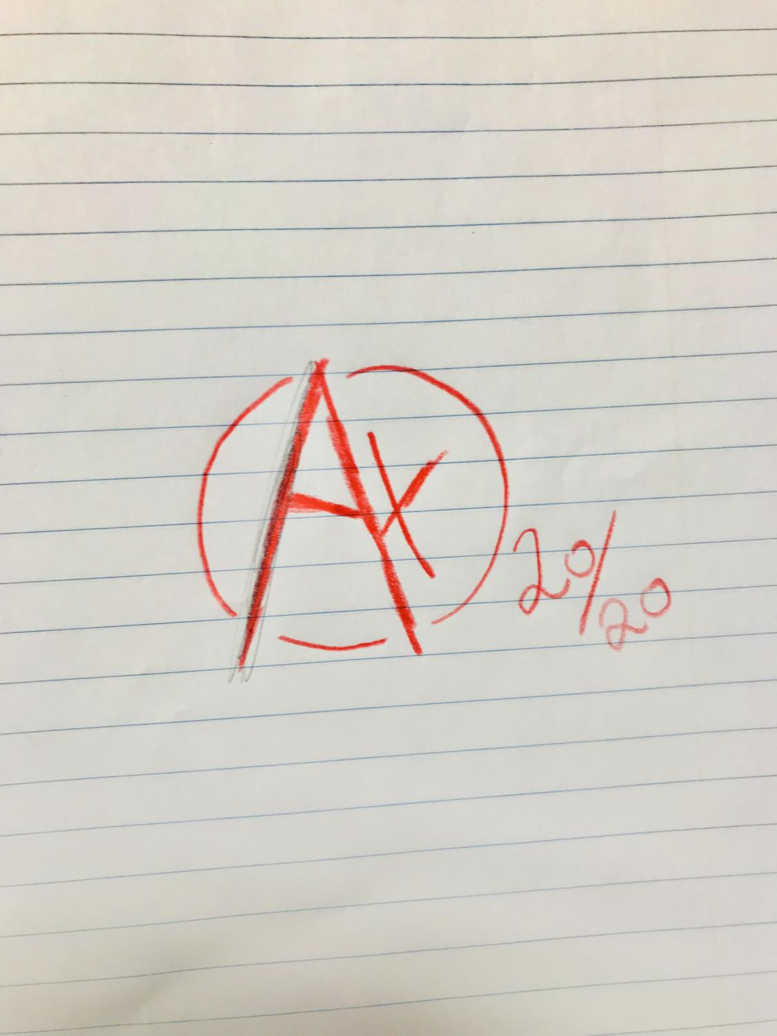 A+ drawn by Johnathan Monteith, 7th grader at West.