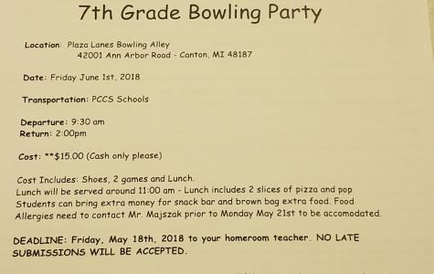 7th Grade Bowling Alley Field Trip Information