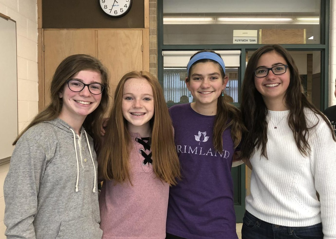 The student council representatives from left to right: Jenna Badger, Frances Walewski, Mary Kate L'Heureux, and Sophia Poulos.