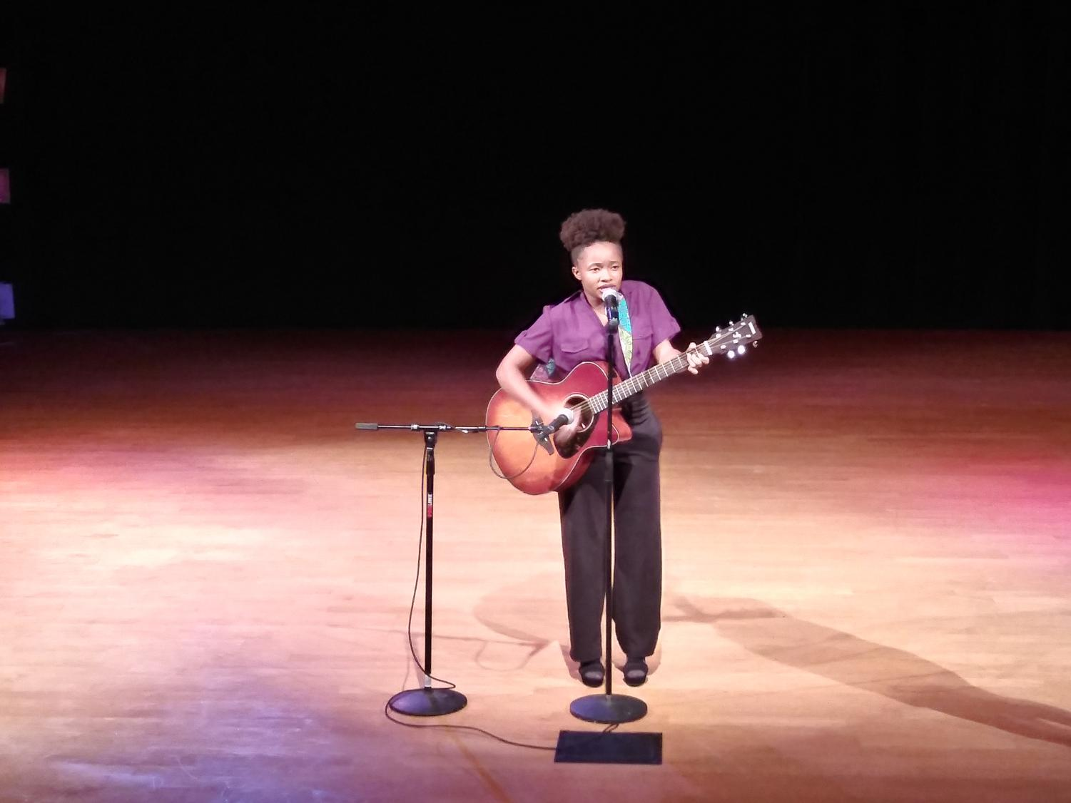 Marquette Winston, 16 years old, performing live at Twisted Storytellers in African American Museum in Detroit.