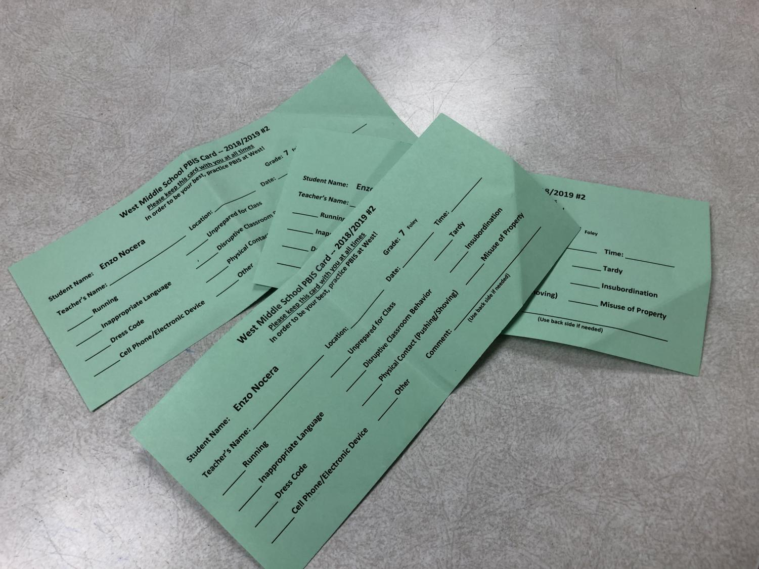 Enzo Nocera's PBIS cards that will be used as tickets for snacks and hot coco.