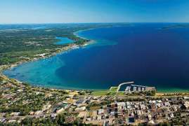Traverse City Bay and view of Lake Michigan