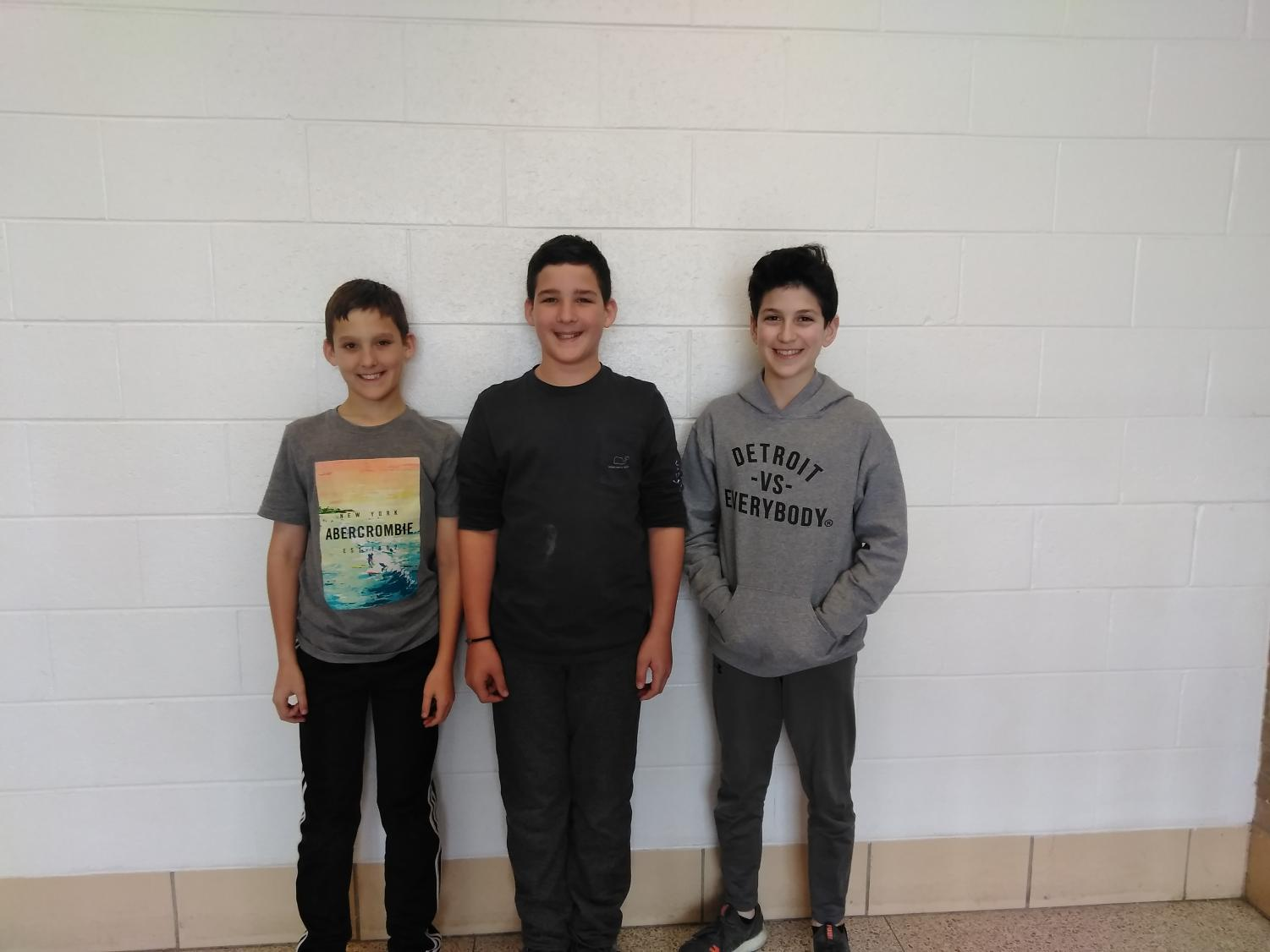 From left to right: Brayden Creedon, Keegan Creedon, and Noah Bazzi.
