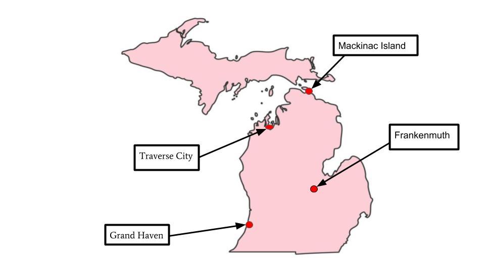 Top 4 Spring Break vacation spots in Michigan.