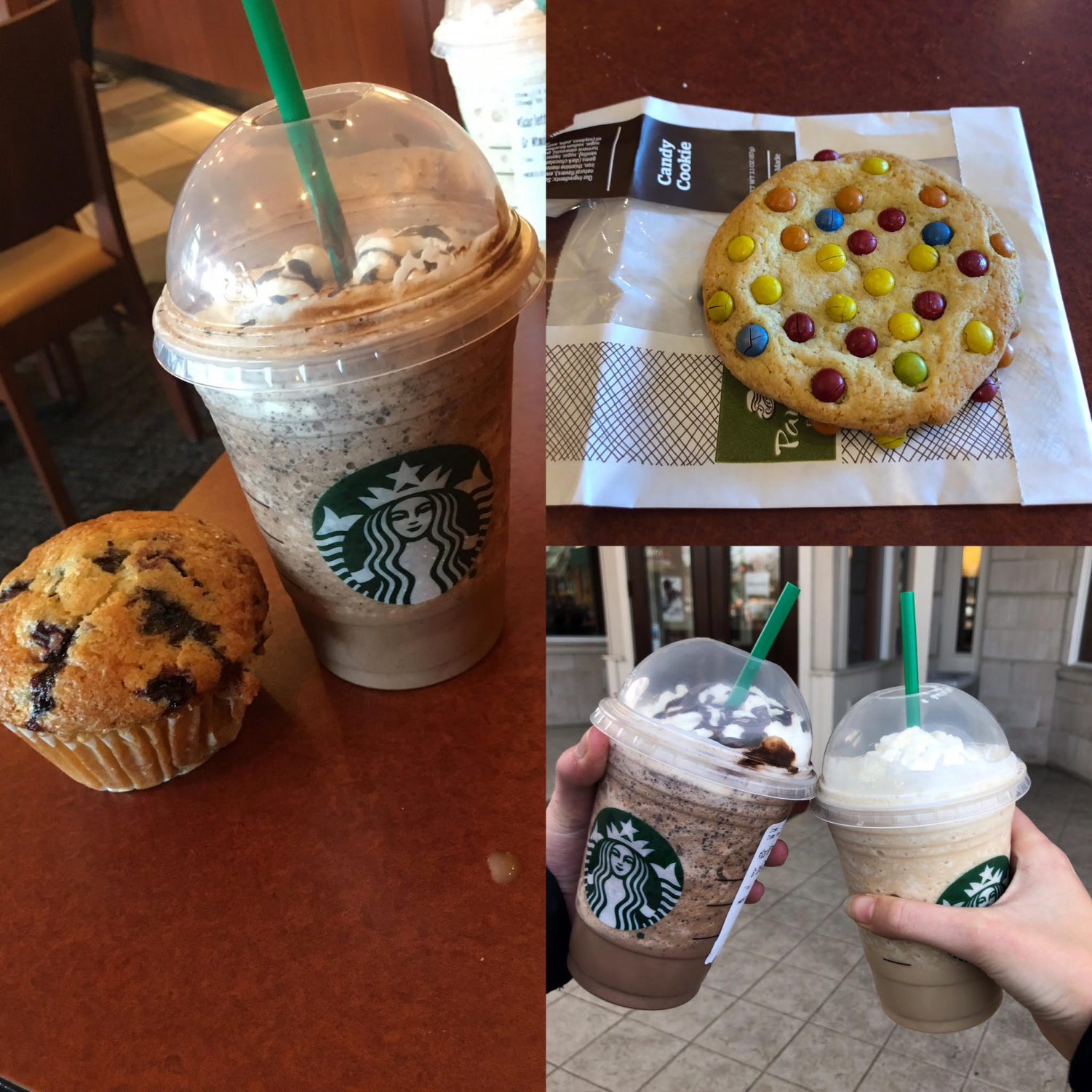 Starbucks and Panera baked goods.