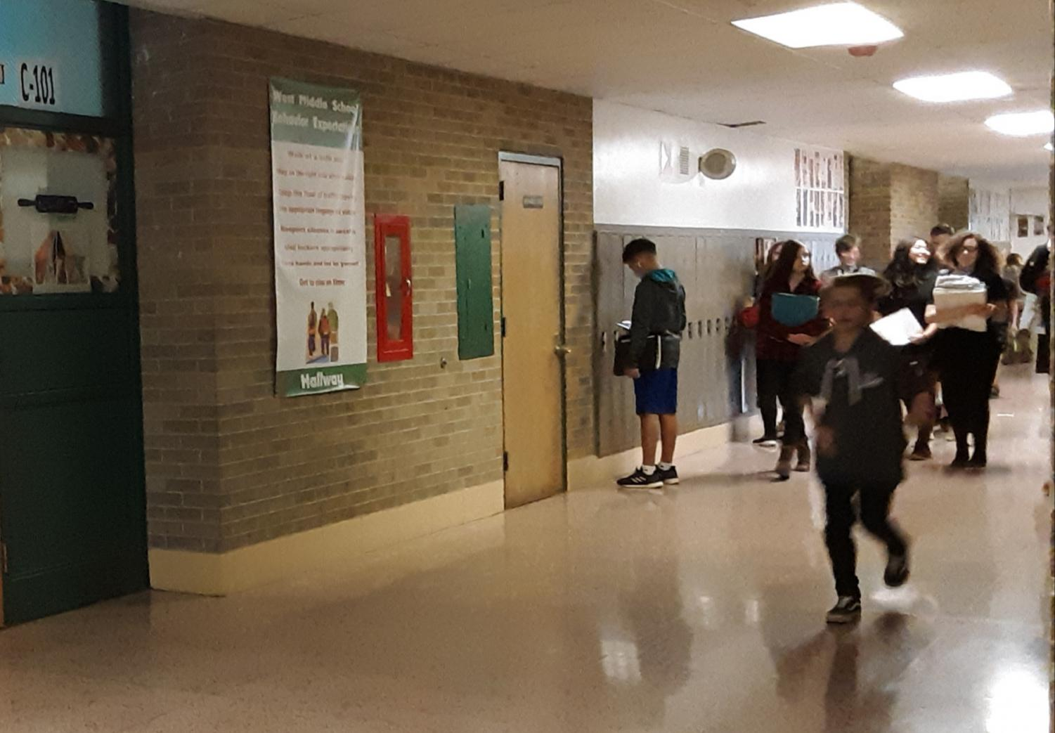 The 8th grade hallway at West.