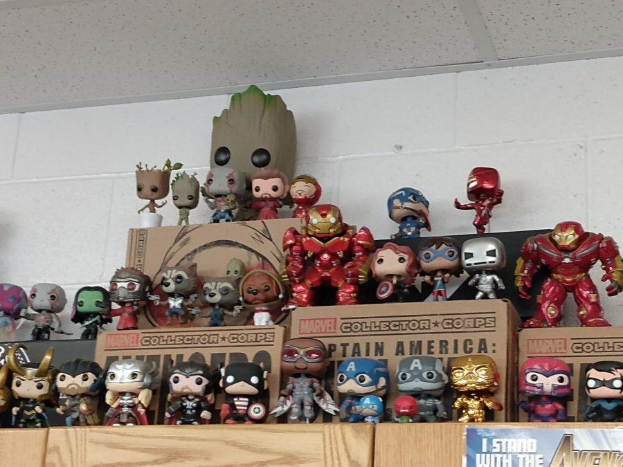 Mr. Fisher's vast collection of Marvel Pop figures.