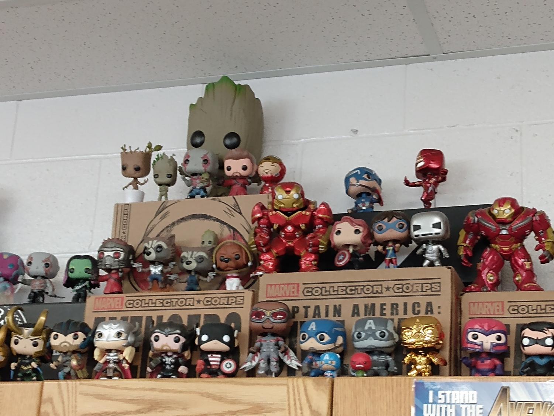 Mr.+Fisher%27s+vast+collection+of+Marvel+Pop+figures.+