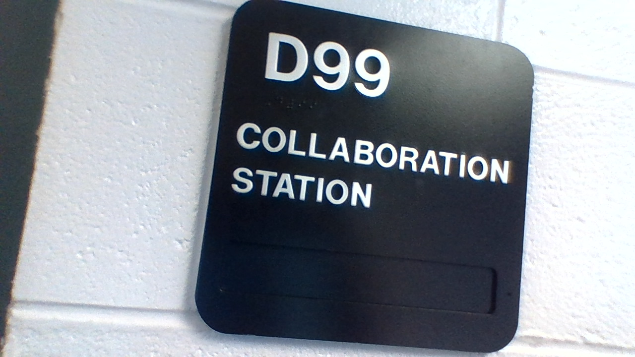 The sign outside the Collaboration Station.