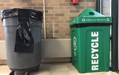 Trash can and recycling bin at West Middle School.