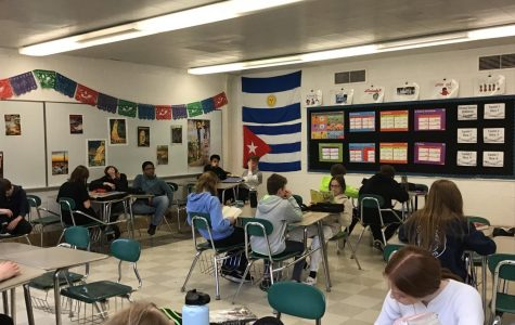 Mrs. Bridges's Spanish 1 and 2 classroom.