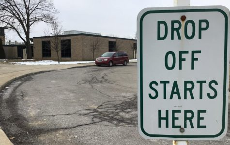 The drop-off sign in front of West Middle School.