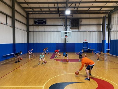 PC Force Girls basketball team practicing at Hivelocity Sports Center.