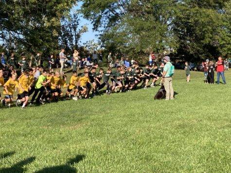 Mr. Wooster ready to start the 7th/8th boys cross country race against Pioneer Middle School last week.